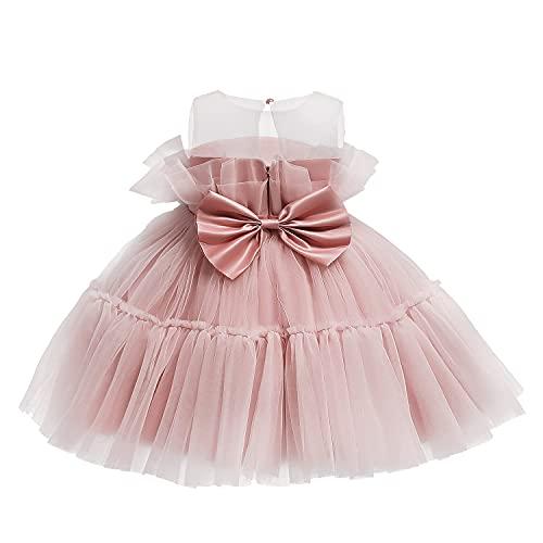 TTYAOVO Baby Mädchen Geburtstag Party Tutu Prinzessin Bowknot Kleid Brautkleid Größe80 (6-12 Monate) 766 Rosa