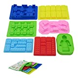 Nuoda Chocolate Candy Silicone Mold, Building Blocks Ice Tray, Robots and Cars Fondant Mold with Children Party Drawstring Gift Bag-Easy to Use and Clean
