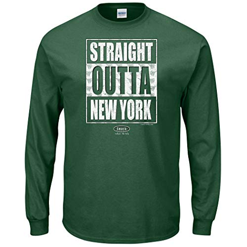 NY Football Fans. Straight Outta New York. Forest T-Shirt (Sm-5X) (Long Sleeve, Large)