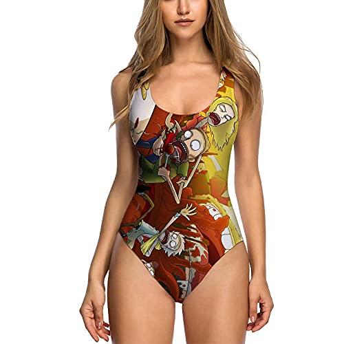 GQFGYYL 2021 Nuevo Traje de BañO de Una Pieza de Rick Y Morty para Mujer, Traje de BañO de Bikini de Cintura Alta con Cuello Redondo, Trajes de BañO