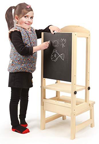 Yulie Torre de Aprendizaje, Taburete de Madera para niños de Kitchen with Blackboard, Altura Ajustable, para niños de 1-5 años