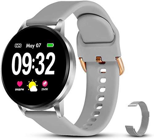 Smartwatch Damen Fitness Armband Uhr | GRATIS Metallband | Sport Bluetooth Kalorien Tracker Pulsuhr Schrittzähler Blutdruckmessung | Voll Touch Screen IP68 Wasserdicht IOS/Android (Weiß)