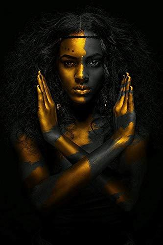 baodanla Schwarze und goldene afrikanische nackte Frau indisches Ölgemälde auf Leinwandplakaten und druckt skandinavisches Wandkunstbild für Wohnzimmer40x60cm(Kein Rahmen)
