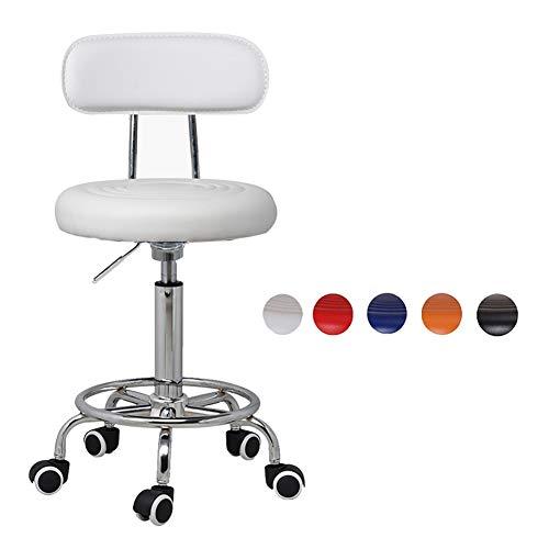 Chaises HAIYU de Massage de Salon Rotative Tabouret élévateur de Gaz Hydraulique de Travail Réglable en PU avec Roues pour Coiffure Manucure Tatouage Spa Beauté(Color:Blanc)