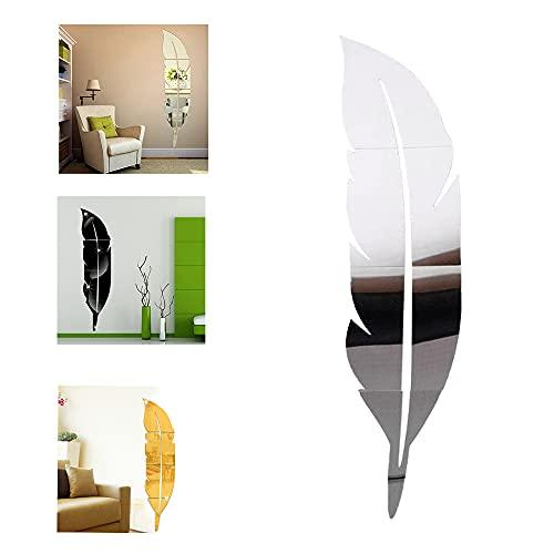 Magico's Specchio adesivo da parete removibile, realizzato in acrilico a forma di piuma, per donare alla tua casa un tocco artistico e moderno alla tua casa - colore argento - d: 30x120