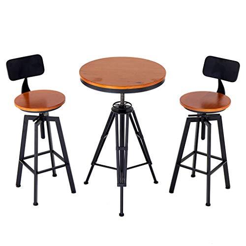 Juego de sillas y Mesa de Bar de Altura Ajustable, taburetes de Bar de Altura de mostrador, Silla de Comedor de la Cocina del café (el Paquete Incluye 2 sillas y 1 Mesa)