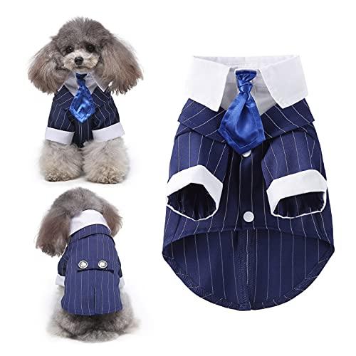 HACRAHO Esmoquin de boda para perro, 1 pieza azul rayado perro boda...
