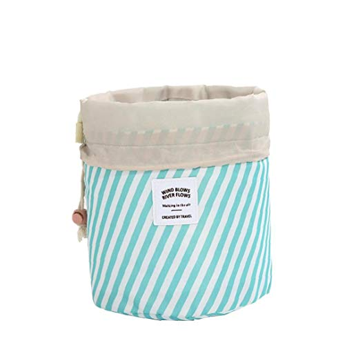 Sac Cylindre Organisateur Cosmétiques Sac En Tissu Oxford Maquillage Multi-fonction Sac Pull Corde Sac Cosmétique (rayures)