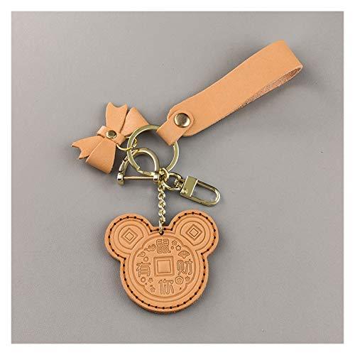 Cute Keyring Cartoon Keychain Car Key Chain Leather Keyring Couple Key Bag Ornaments Cute Keychain for Girlfriend or Boyfriend Gift for Women (Color : Yellow)