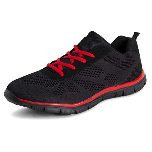 Get Fit Donna Piedi in Esecuzione Jogging Comfort Leggero Formatori - Nero/Rosso - UK3/EU36 - BS0424