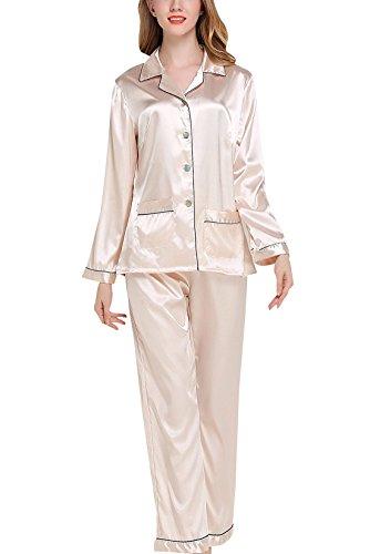Sihuan Mujer Pijama de 2 Piezas Camisón de Satén Ropa de Dormir Manga Larga Elegante Ligero Suave - Azul Oscuro, Talla M