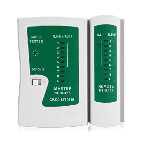 QiKun-Home Probador de Cable LAN Profesional RJ45 RJ11 Cat5 Cat6 Probador de Cable de Red portátil Detector de línea telefónica Kit de Herramientas de Seguimiento Blanco y Verde