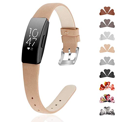 GVFM Band Compatible with Fitbit Inspire Bands/Inspire HR Band, Genuine Leather Slim Soft Strap Wristbands Accessories Replacement for Fitbit Inspire Fitness Tracker (L(6.7