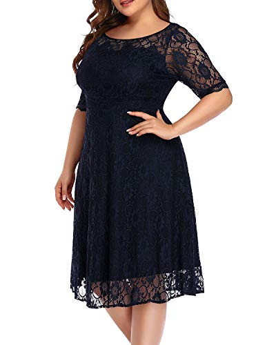 Plus Size Cocktail Dresses Women Navy Blue Lace Wedding Guest Semi-Formal Party Swing Midi Casual Dress Sweetheart Neck
