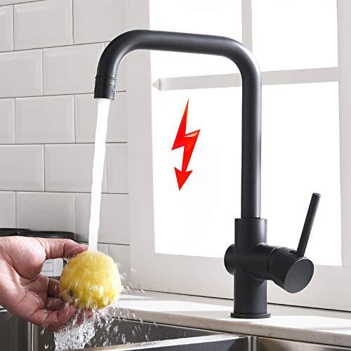 TIMACO Grifo de cocina de baja presión, color negro, monomando, giratorio 360°