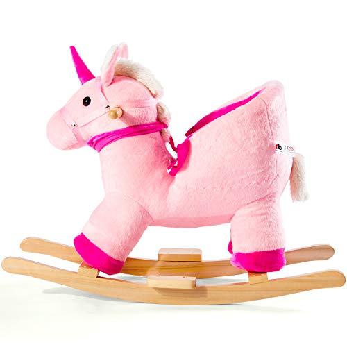 Pumpumly Balancín de peluche, balancín de unicornio, mecedora infantil, caballo balancín de peluche, columpio para bebés y niños pequeños, regalo para niños de 10 a 36 meses