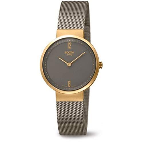 Boccia Damen Analog Quarz Uhr mit Edelstahl Armband 3283-02