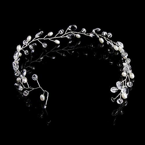 45532rr Headwear Mode Blätter Brauthaar-Zusätze handgemachte Kristallhaarschmuck Hochzeit Stirnband Kopfbedeckung for Frauen (Gold) (Color : Silver)