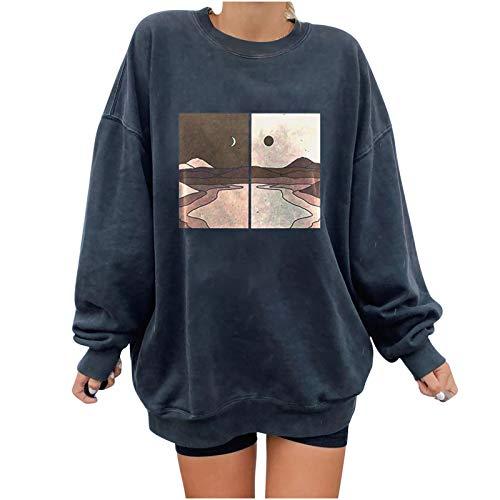 Das Neue Lange Ärmel Pullover Damen Winter Pullover mit Rundhalsausschnitt, Vintage Sweatshirt Bunter Cartoons Pullover Teenager Mädchen Sportbekleidung Sweatshirt for Women(Dunkelgrau)