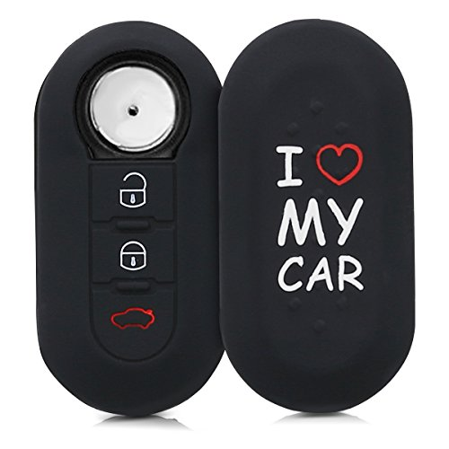 kwmobile Funda Compatible con Llave Plegable de 3 Botones para Coche Fiat Lancia -  Carcasa Protectora Suave de Silicona -  I Love my Car