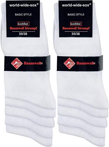 world wide sox | Socken & Strümpfe für Damen | Smooth Baumwolle Bright | 10 Paar | weiß | 35-38
