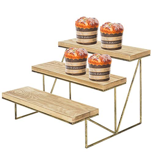 table display for vendors MyGift 3-Tier Cascading Brown Wood & Brass Cupcake Dessert Display Riser Rack Stand