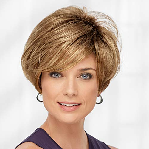 Bennett WhisperLite Wig by Paula Young - Sophisticated Short Bob Wig with Feathery Layers and Lash-Skimming Bangs / Multi-tonal Shades of Blonde, Silver, Brown, and Red