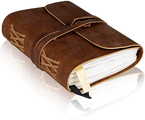 Leather Bound Notebook - Blank Pages - Hand-Crafted Genuine Leather Writing...