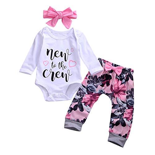 Geagodelia, set da 3 pezzi per neonato, tutina a maniche lunghe, body + pantaloni lunghi, abbigliamento estivo, 6 mesi, cappello Hello World New To The Crew-1 0-3 Mese