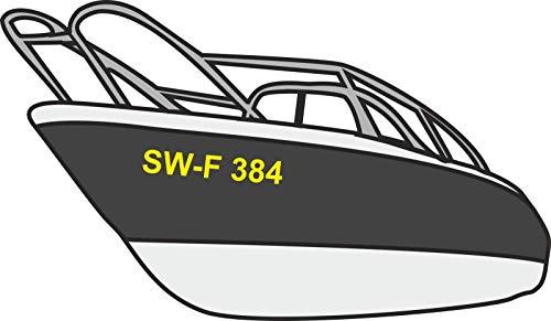 Bootsnummer Bootskennzeichen Kennzeichen Amtliche anerkannte Kennzeichnung für Boote 2 Stück Weiß