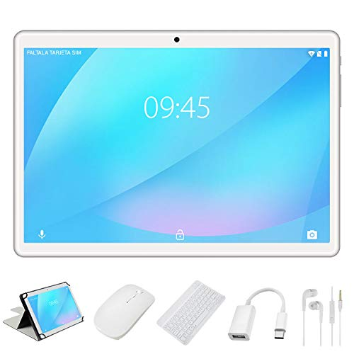 Tablet 10 Pollici YESTEL X7 Android 8.1 Tablets con 4GB RAM 64GB ROM+ Espanso 128 GB LET Dual SIM 8000mAh(WiFi/Bluetooth/GPS)-con Tastiera e Mouse – Argento
