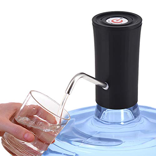 Water Bottle Pump for 5 Gallon Bottle, USB Charging with Automatic Shut Off Function (Black)
