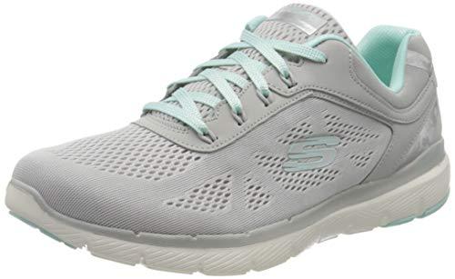 Skechers Damen Flex Appeal 3.0 - Moving Fast Sneaker, Grau (Gray Mesh/Duraleather/Mint Trim Gymn), 37 EU