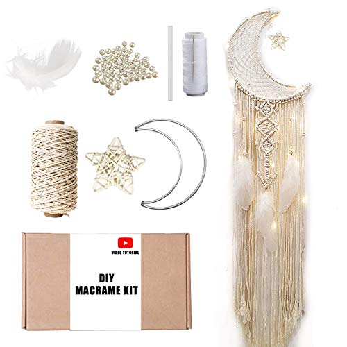 Macramé Moon Dreamcatcher DIY Craft Kit for Beginner – Make Your Own Bohemian Style Home Décor Wall Hanging – Rewarding Art Project for Teens or Adults (Star)