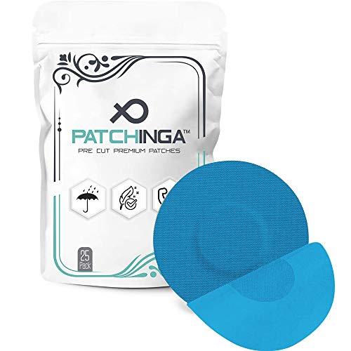 PATCHINGA | Freestyle Libre 1 & 2 Pflaster | 25er Pack | Kleberfreie Mitte | CGM Patch | Fixierband für Ihren Sensor | Selbstklebend | Wasserfest | Hautfreundlich - Erhältlich in 4 Farben (blau)