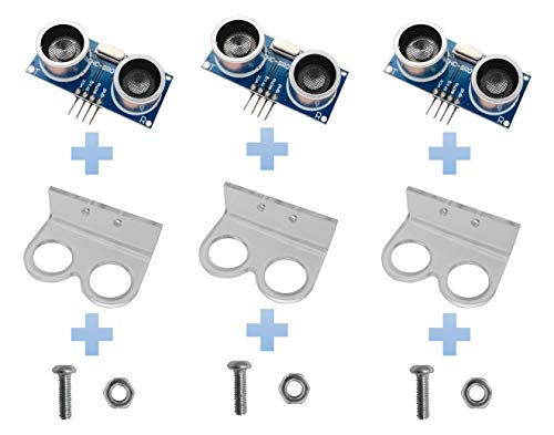 Excelity 3pcs Ultrasonic Module HC-SR04 Distance Sensor with 3pcs Mounting Bracket for Arduino
