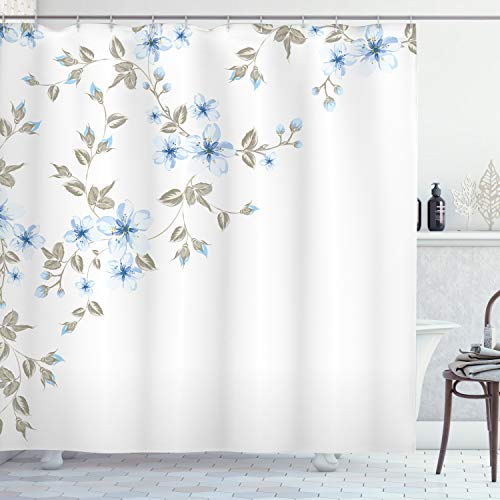 "Ambesonne Pale Blue Shower Curtain, Japanese Sakura Cherry Tree Branches Fresh Serene Spring Nature, Cloth Fabric Bathroom Decor Set with Hooks, 70"" Long, Blue Grey"