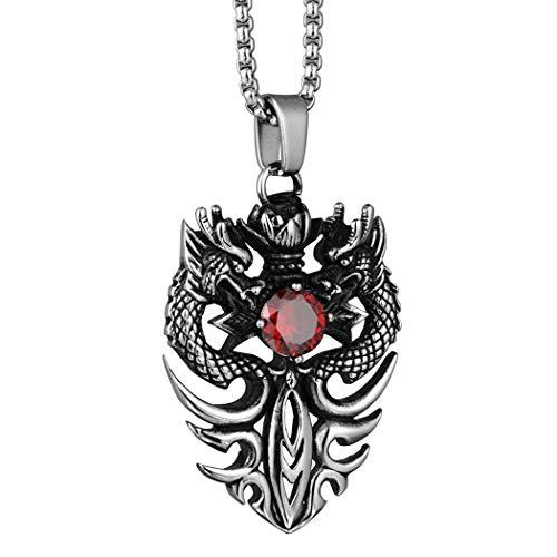 Brfash Collares para Hombre de Doble dragón Cruz Espada Cristal Colgante Collar...