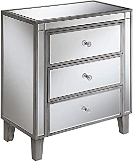 Convenience Concepts Gold Coast Large 3 Drawer Mirrored End Table, Antique Silver / Mirror (B07TJ91SNT)   Amazon price tracker / tracking, Amazon price history charts, Amazon price watches, Amazon price drop alerts