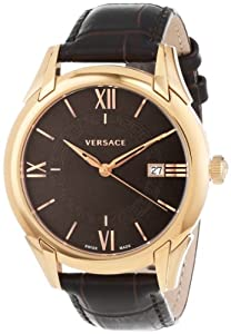 Versace Men's VFI030013 'Apollo' Rose Gold Ion-Plated Stainless Steel Dress Watch with Leather Band Shop and Now and review image