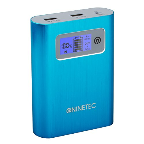 NINETEC PowerDrive 2in1 64GB USB Flash Speicher + 13.400mAh Power Bank Akku Ladegerät in Blau