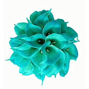 Meide Group USA 14″ Real Touch Latex Calla Lily Bunch Artificial Spring Flowers for Home Decor, Wedding Bouquets, and centerpieces (18 PCS) (Turquoise)