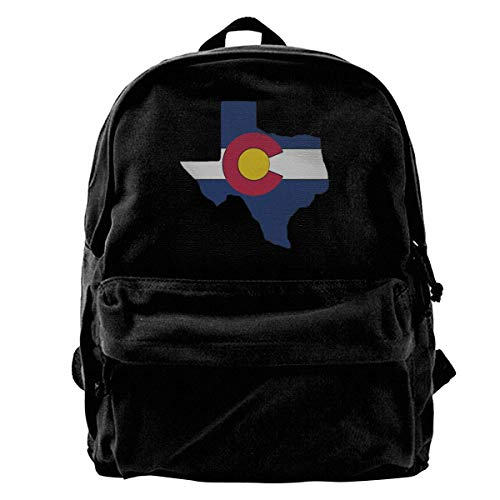 Backpack Texas Outline Colorado Flag Canvas Backpack School Print Women Book Gift Shoulder Bags Laptop Backpack Unique Daypack Cute Men Casual Lightweight Travel Backpack Birthday
