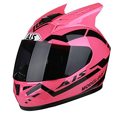 QPFH Casco de Motocicleta de Rostro Completo, Casco de Moto R1-605, Casco de Bicicleta de la Suciedad de ATV Rider Rosa para Hombres y Mujeres,XXL