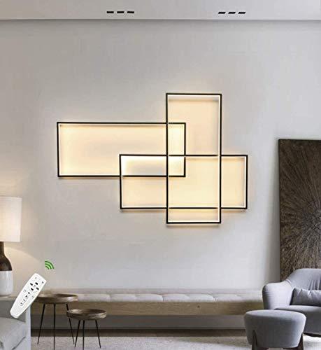 Lámpara luminosa decorativa de pared LED Living Room lámpara moderna 50 W regulable con mando a distancia claro de la pared interior acrílico cuadrada pantalla negra lámpara diseño Lam