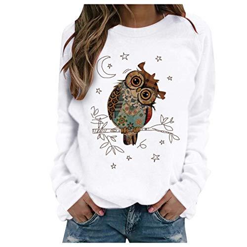 Tomwell Pullover Damen Eule Drucken Sweatshirt Langarmshirt Rundhals Langarm Shirt Herbst Winter Pulli Tops Oberteile D Weiß M