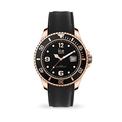 Ice-Watch - ICE steel Black Rose-Gold - Schwarze Herrenuhr mit Silikonarmband - 017327 (Extra large)