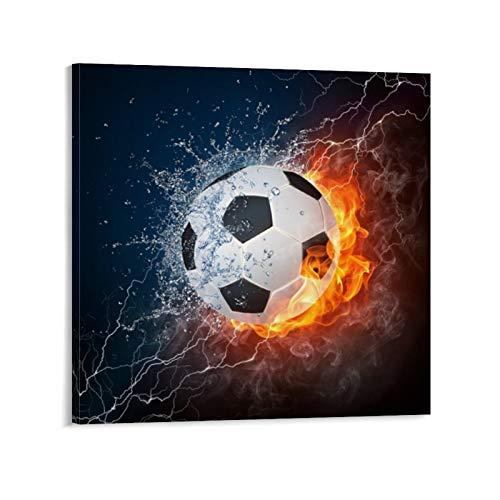 SDFGSD Póster de balón de fútbol con agua y fuego, pintura decorativa en lienzo para pared para sala de estar, dormitorio