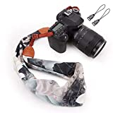 Scarf Camera Strap Soft Neck Shoulder Belt Vintage Floral Fabric for Women by WYTTDM(White)