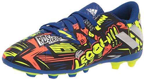 adidas boys Nemeziz Messi 19.4 Firm Ground Soccer Shoe, Royal Blue/Silver/Yellow, 1 Little Kid US
